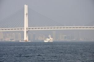 横浜港の横浜ベイブリッジの写真素材 [FYI02984101]