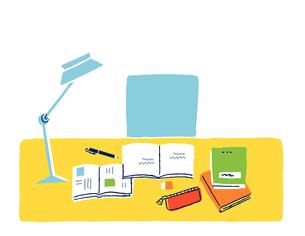 勉強中の机の上のイラスト素材 [FYI02984787]