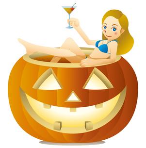 ハロウィンかぼちゃの浴槽でカクテルを飲むキュートな女性のイラスト素材 [FYI02986700]