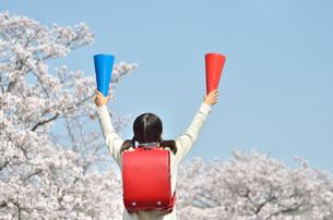 青空で応援する小学生の女の子(メガホン、後姿)の写真素材 [FYI02986781]