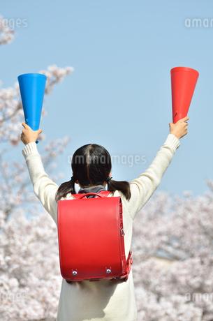 青空で応援する小学生の女の子(メガホン、後姿)の写真素材 [FYI02986783]