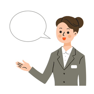 説明する女性とフキダシ2のイラスト素材 [FYI02987848]