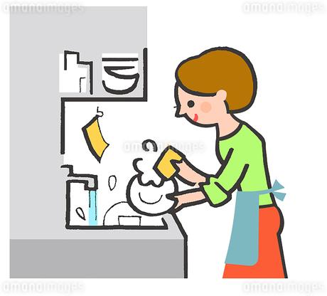 食器を洗う主婦のイラスト素材 [FYI02988201]