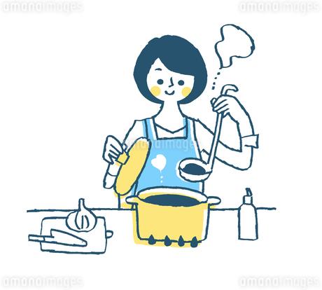 調理をする主婦 ブルーのイラスト素材 [FYI02988202]