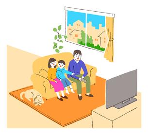 リビングでテレビを見る家族のイラスト素材 [FYI02988826]