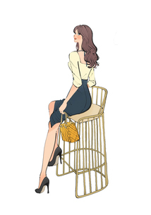 スツールに腰かけるドレスアップした女性のイラスト素材 [FYI02988984]