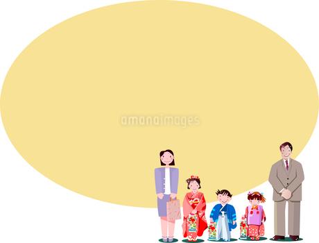 子供の成長を祝う日本の伝統行事の七五三のイラスト素材 [FYI02989055]