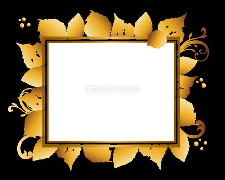 葉っぱ ゴールド フレームのイラスト素材 [FYI02989273]