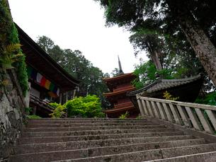 長命寺の本堂と三重塔と納札所の写真素材 [FYI02989386]