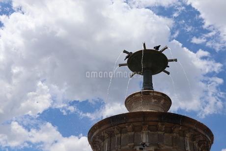 塔の上で鳥が水遊びの写真素材 [FYI02989737]