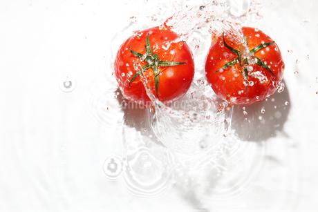 トマトと水飛沫の写真素材 [FYI02989903]
