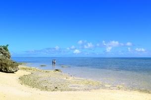 ビーチと夏空に雲の写真素材 [FYI02990042]