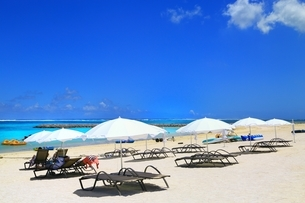 夏のリゾートビーチの写真素材 [FYI02990062]