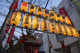 四谷荒木町の力車門通りの金丸稲荷神社の提灯の写真素材 [FYI02990868]