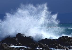 冬、はじける大波の海岸の写真素材 [FYI02991095]