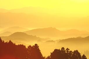 かぎろいの里、奈良大宇陀の朝日の写真素材 [FYI02991109]