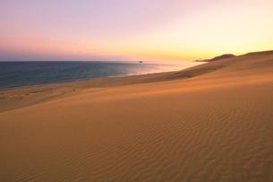 鳥取砂丘と日本海に朝焼けの空の写真素材 [FYI02991194]