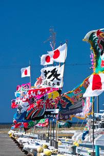 宗谷漁港の漁船と大漁旗の写真素材 [FYI02991905]
