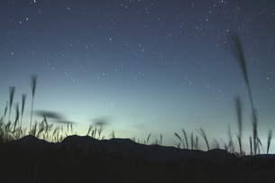 星湧く、ススキの有名地、曽爾高原の夜の写真素材 [FYI02992018]
