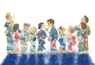 夏 〜浴衣姿の人々~のイラスト素材 [FYI02992435]