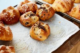 パン屋に並ぶチョコレートパンの写真素材 [FYI02992836]