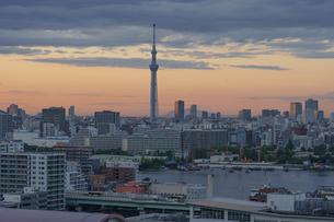 筑波山とスカイツリー夕景の写真素材 [FYI02993009]
