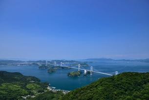 亀老山展望台からの来島海峡大橋の写真素材 [FYI02993376]