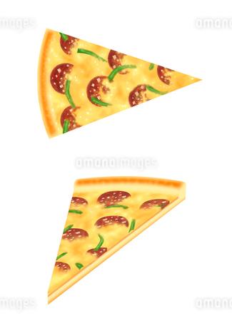 サラミとピーマンのピザのイラスト素材 [FYI02993514]