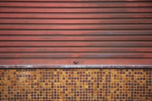 錆びたシャッターとモザイクタイルの写真素材 [FYI02993714]