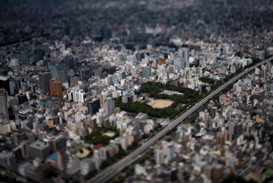 名古屋市科学館 ミニチュア空撮 ミニチュア風空撮写真(チルトレンズ使用)の写真素材 [FYI02993898]