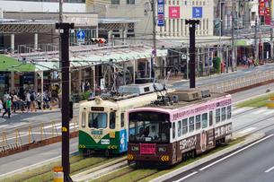阿倍野筋と阪堺電車の写真素材 [FYI02994465]