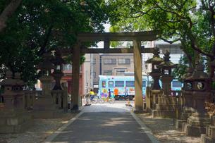 住吉大社の鳥居と阪堺電車の写真素材 [FYI02994468]