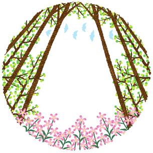 花と林のフレームのイラスト素材 [FYI02994741]