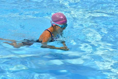 プールで泳ぐ女の子(平泳ぎ)の写真素材 [FYI02994971]