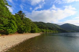 新緑の中禅寺湖の写真素材 [FYI02995442]