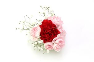 薔薇とカスミソウの花束の写真素材 [FYI02995772]