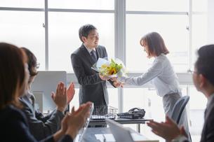 退職祝いに花束を送る社員とそれを受け取る上司の写真素材 [FYI02996157]