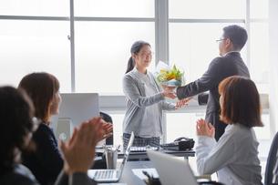 退職祝いに花束を送る社員とそれを受け取る上司の写真素材 [FYI02996158]