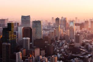 夜明けの東京都心の写真素材 [FYI02996347]