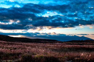 ススキ輝く霧ヶ峰高原と八ヶ岳連峰に秋の朝の空の写真素材 [FYI02996724]
