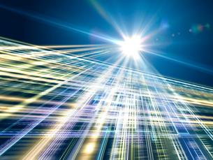 交差ながら放射する光線群と回路のイラスト素材 [FYI02997385]