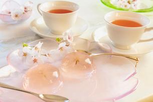 桜の花びらの入ったゼリーと桜の花と紅茶の写真素材 [FYI02997507]