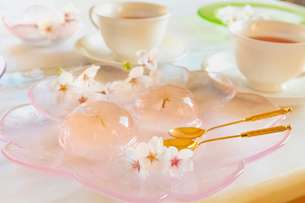 桜の花びらの入ったゼリーと桜の花と紅茶の写真素材 [FYI02997508]