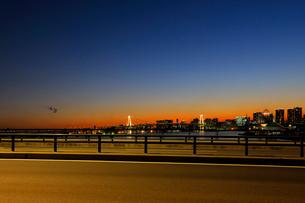 豊洲大橋から見る夕焼けの東京港と環状2号線の写真素材 [FYI02997540]