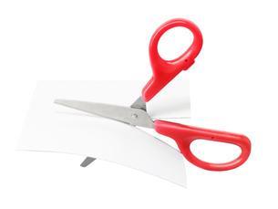 紙を切るはさみの写真素材 [FYI02997630]