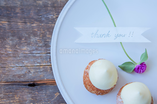 白い皿の上の2つのシュークリームの写真素材 [FYI02998339]