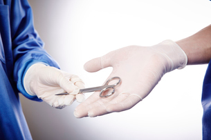手術中の医師にハサミを渡す手元の写真素材 [FYI02998516]