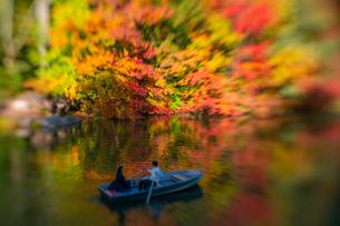 紅葉に囲まれたセントラルパークのザ レイクでボートに乗るカップル。の写真素材 [FYI02998999]