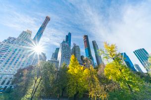 ミッドタウンマンハッタン摩天楼の間に輝く太陽に照らされるセントラルパークの紅葉。の写真素材 [FYI02999044]