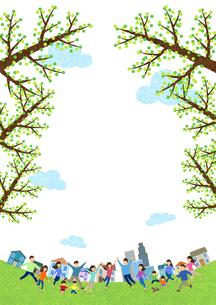 芝生の広場がある住宅街に集まる人々のイラスト素材 [FYI03003697]